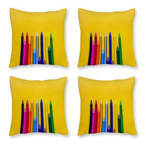 DKE&YMQ Funda de almohada de lona 4, implemento de escritura amarillo papelería colorfulness púrpura suministros de oficina pluma lavanda violeta bolígrafo