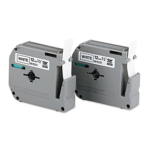 Brother M2312PK M Series Labeling Tapes for P-Touch Labelers, 1/2-Inch w, Black on White, 2/Pack