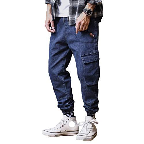 Huntrly Pantalones Vaqueros para Hombre Otoño Casual Todo-fósforo Vaqueros Multibolsillos Pantalones Vaqueros Sueltos Ocasionales de Moda de Talla Grande 3XL