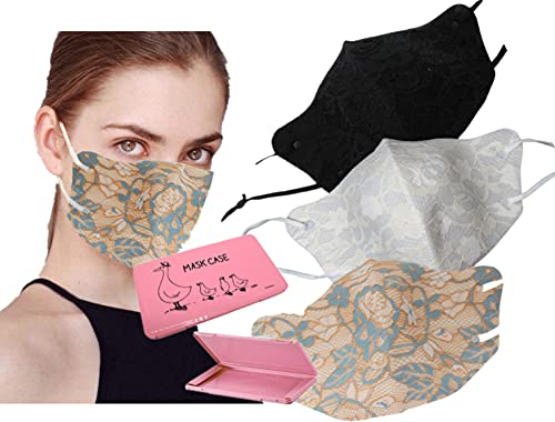 GOOGIT Mascherina Eleganti Donna Facciale, FASHION maschera da spiaggia MARE, Disco, Lavabile, Riutilizzabile per Adulto Protezione Viso (Set E)