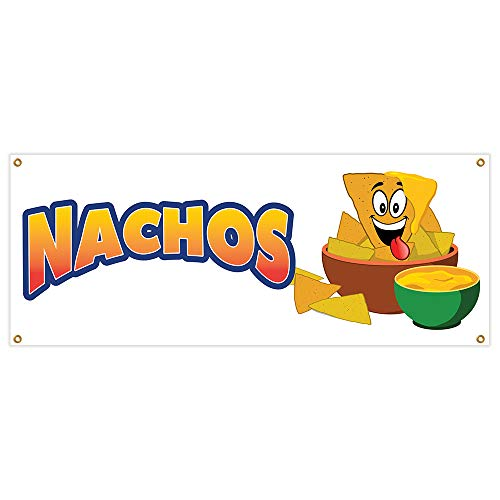 "Nachos Banner 18"" X 48"" Heavy Duty 13 Oz Vinyl Banners with Grommets Single Sided"