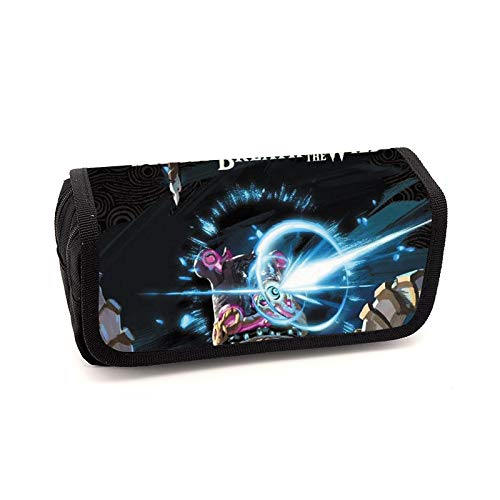 YangQian Zelda Pen Bag Zelda Legend Pen Bag Large-capacity Korean Version Of Simple Print Lead Steel Color Crayon Storage Finishing Bag.