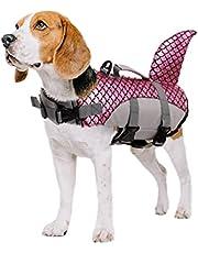 PUMYPOREITY Pies kamizelka ratunkowa dla psa kamizelka ratunkowa ochrona kostium kostium kostium kostium regulowany strój kąpielowy ratowanie życie kamizelka pływająca na basen plaża łódka dla małych średnich dużych psów