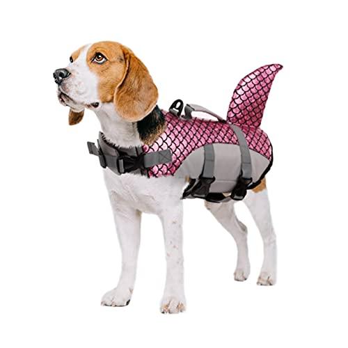 PUMYPOREITY Giubotto di Salvataggio Cani Gilet Salvagente Squalo Cani Salvagente Protettivo Lifesaver Vest Nuoto per Cani di Taglia Piccola Media Grande(Rosa, L)