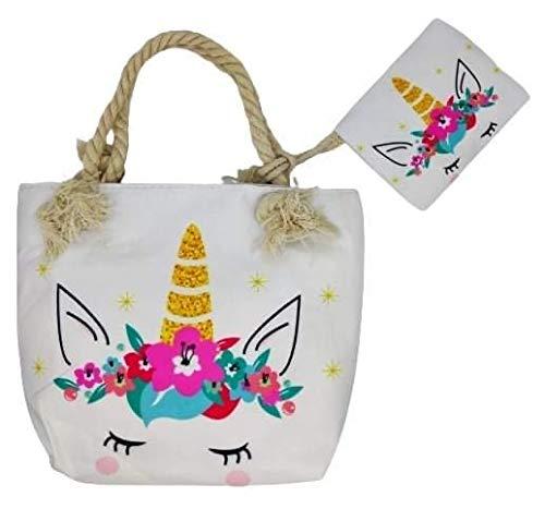 Goods4good Bolso Playa Piscina Unicornio Pequeño para Niña/Chica con Regalo Neceser/Monedero Color Rosa Asas Cremallera Regalo Verano (Multicolores 3)