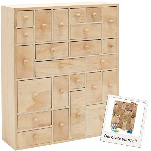HYGGEHAUS Wooden Storage Organizer with Drawers - Craft Storage | DIY Advent Calendar | Desktop Organizer | Apothecary Cabinet | Kids Craft Idea | 24 Drawer. Unfinished Wood. 12.5in x 14.5in x 4in
