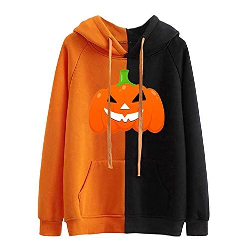 GFGHH Y2k Aesthetic - Sudadera de manga larga para mujer, diseño de calabaza con retrato, talla E Girl 90, chaqueta de manga larga para Halloween o carnaval, Orange C, XXL