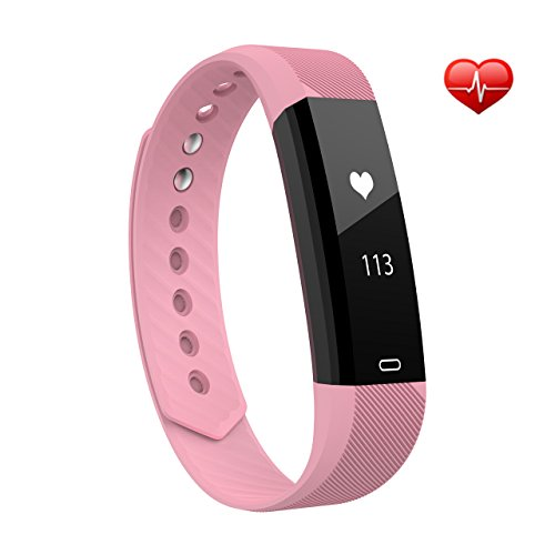 VicTsing Pulsera Actividad Ritmo Cardíaco, Impermeable Pulseras Inteligentes Bluetooth 4.0, Podómetro, Monitor de Sueño, Control Remoto de Móvil para Android 4.4/iOS 7.1 y Superior-Rosa
