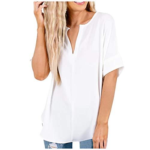 Damen V-Ausschnitt T-Shirt Sommer Kurzarm Zipper Tunika Oberteil Tops Casual T Shirt Bluse