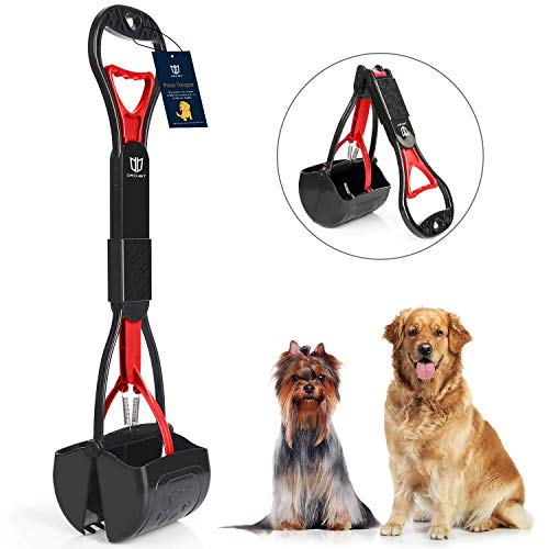 DEGBIT Non-Breakable Pet Pooper Scooper for Large and Small Dogs, Long Handle Portable Dog Pooper Scooper, High Strength Materials & Durable Spring, Easy to Use, Great for Lawns, Grass & Gravel (Red)