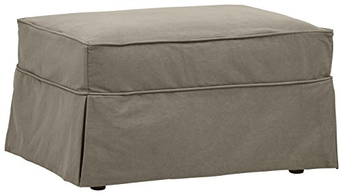Amazon Brand – Stone & Beam Carrigan Ottoman with Slipcover, 33'W, Grey Taupe