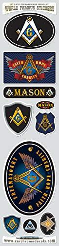 Mason Masonic Vinyl Stickers Set 10 Flag Decals Bumper car auto Bike Laptop