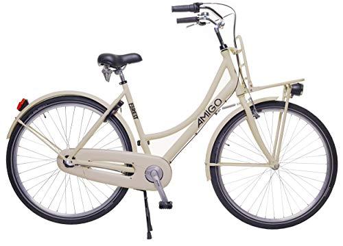 Amigo Forest - Cityräder für Damen 28 Zoll - Shimano 3 Gang-Schaltung - Geeignet ab 170-180 cm - Citybike mit Handbremse, Rücktritt, Gepäckträger Vorne, Beleuchtung und fahrradständer - Beige