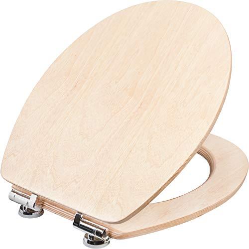 Cornat WC-Sitz Ligna Plus - Hochwertiges Echtholz - Kiefer - Absenkautomatik - Komfortables Sitzgefühl - Edle Holz-Optik passt in jedes Badezimmer / Toilettensitz / Klodeckel / KSLIGKSC