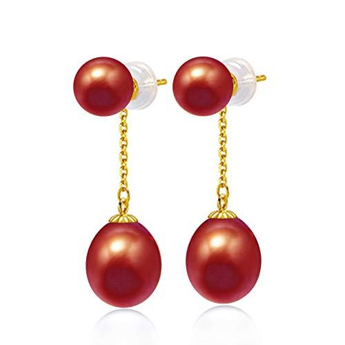 HXUJ Perla de Agua Dulce de 7-8 mm con Unos Pendientes de Gota de lágrima de 9 mm Pendientes Colgantes de Oro de 18 Quilates Joyería Fina,Rojo