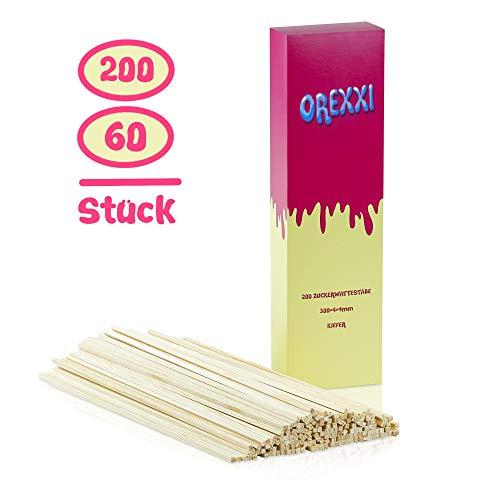 OREXXI Zuckerwatte Stäbe - 60 Zuckerwattestäbchen 30cm Für Zuckerwattemaschine Zuhause - Splitterfreie Stäbchen Für Zuckerwatte