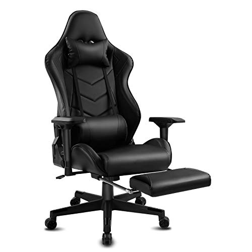 Modern-Depo Gaming Chair Recliner with Bluetooth Speakers, High-Back Swivel Racing Style Ergonomic Office Desk Reclining Chair with 4D Armrest, Headrest, Lumbar Support, Footrest, Black