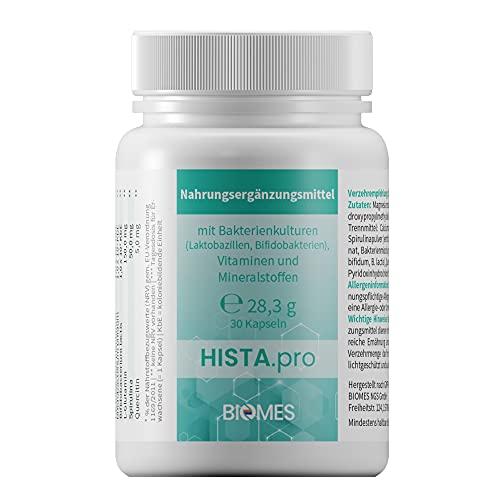 HISTA.pro Nahrungsergänzungsmittel mit Bakterienkulturen(Laktobazillen, Bifidobakterien), ohne histaminbildende Stämme, mit wertvollen Vitaminen, aktive medizinische Hefe, Vitamine und Mineralstoffe