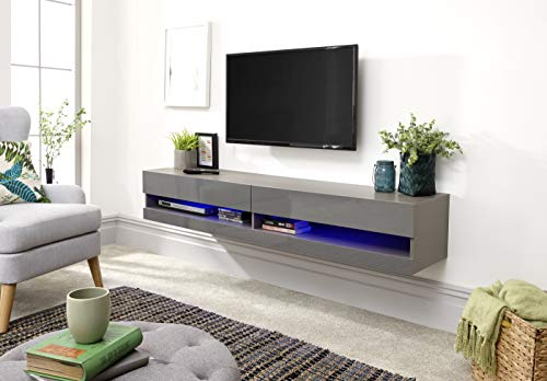 Galicia Wall Mounted Gloss TV Unit with LED - 120 & 180cm - Black, Grey or White#180Grey