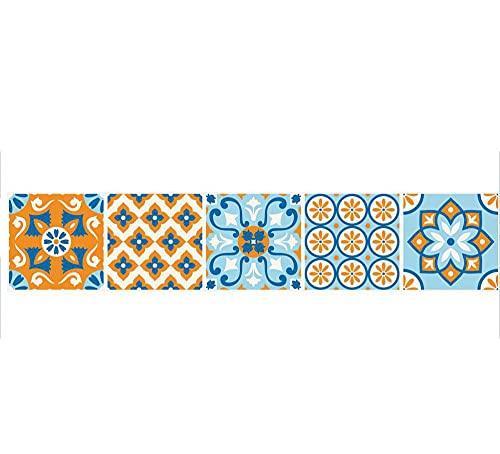 Pegatinas de azulejos abstracción creativa impermeable pegatinas de pared DIY autoadhesivas autoadhesivas retro cuadrados para decoración de muebles de cocina baño 20 cm x 100 cm x 1 pieza