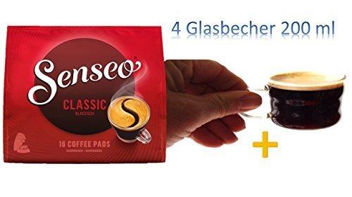 Senseo Classic Kaffee-Pads, 16 Portionen - 111g - 2x + 4 Glastassen mit Henkel 200ml