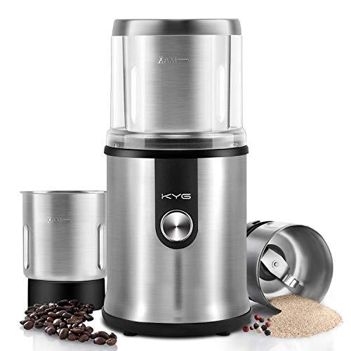 KYG Kaffeemühle Elektrische Kaffeemühle 300W 120g Fassungsvermögen für Kaffeebohnen Nüsse Gewürze Getreide Kräuter Mühle mit 2 Abnehmbare Edelstahlbehälter mit Edelstahlmesser& Spezialmesser Edelstahl