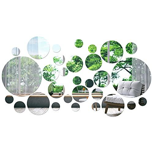 Smilcloud 30 Piezas de Adhesivos de Pared de Espejo Redondos, con 5 Tamaños Diferentes de Adornos de Adhesivos de Pared, Utilizados para la Decoración de Bricolaje de Dormitorios y Baños
