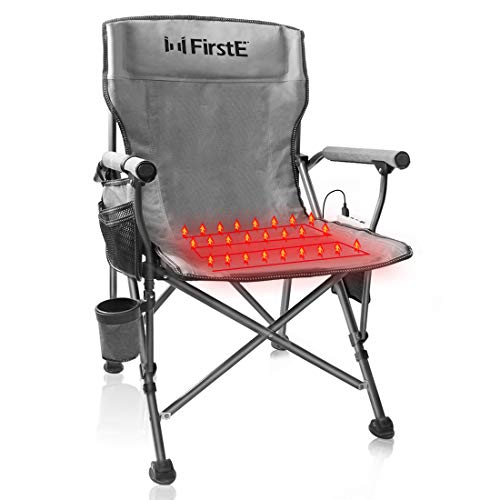 FirstE Heated Portable Chair Hot Chair for Camping Sports Beach and Picnic USB Heated Folding Seat with 3 Temperature Adjustment Cup Holder and Pockets Battery Not Included