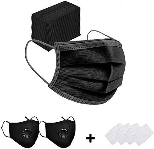 Pppby 50 X Mundschutz Maske Schutzmaske Plus 2 X Mund und Nasenschutz Waschbar Staubschutzmaske Wiederverwendbar Atmungsaktiv Mundschutz Winddicht Unisex Halstuch - Mit 4 Aktivkohlefiltern