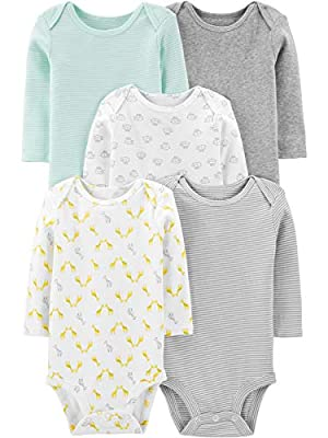 Simple Joys by Carter's Baby 5-Pack Neutral Long-Sleeve Bodysuit, Mint/Stripes/Heather Grey/Prints, 0-3 Months