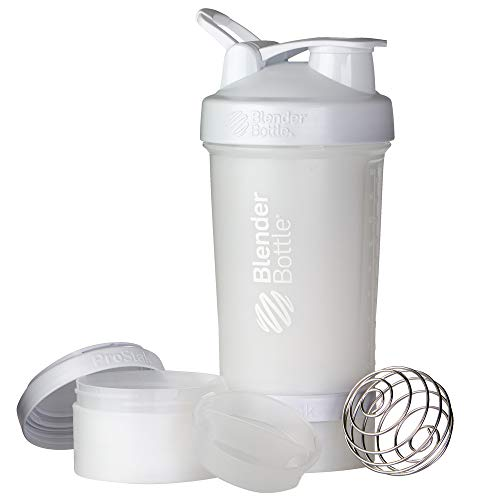Blender Bottle ProStak - 22oz Protein Shaker Cup Water Bottle incl 150cc and 100cc Jar,White,650 ml