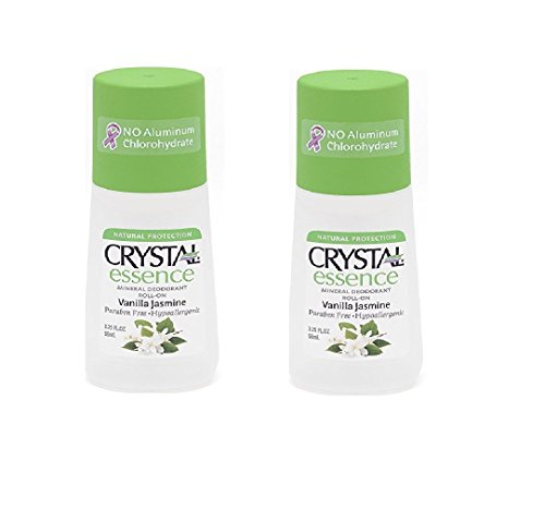 Crystal Body Deodorant Essence Mineral Roll-On - Vanilla Jasmine (2.25 fl oz) - Pack of 2