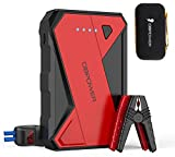 DBPOWER 1000A Portable Car Jump Starter (UP to 7.0L Gas, 5.5L Diesel Engine), 12V Lithium-Ion Auto Battery Booster, Power Pack with LCD Screen Clamp Cables,USB Quick Charge, LED Flashlight