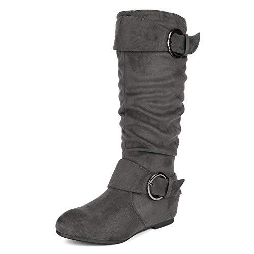 DREAM PAIRS Women's Ura Grey Suede Knee High Low Hidden Wedge Boots Size 9 M US