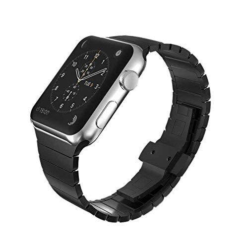 FOXROAR Correa galvanizada de Acero Inoxidable Compatible con Apple Watch 42mm 44mm, Pulsera de eslabones con Doble botón Correa de Cierre Plegable para iWatch Series 4 3 2 1, Negro