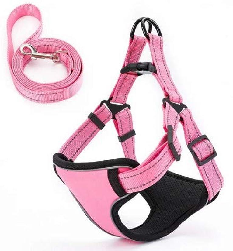 返還極地レッスン反射トラクションロープ犬の鎖犬の鎖を持つペットの胸部ストラップ小さな中型と大型の犬ペット (Color : ピンク)