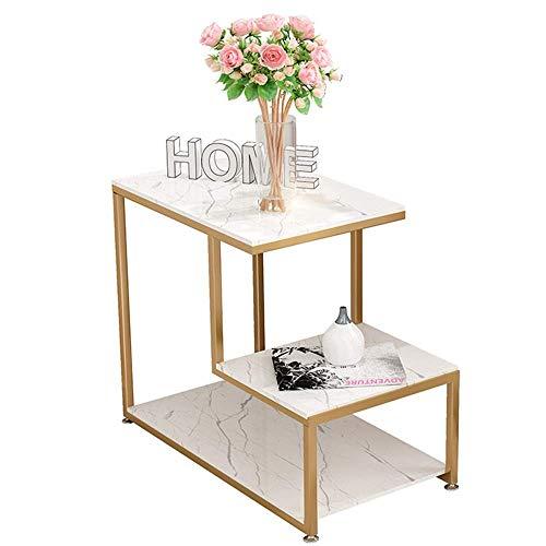 Home&Selected Furniture/Nordic sofa, bijzettafel, woonkamer, hoektafel, rechthoekig, marmer, zijkast, 3-laags, magazijnrek, 25,5 inch, 13,7 inch, 21,6 inch (kleur: wit)
