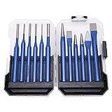 Cincel cónico, punzón cilíndrico, 12 piezas Kit de punzón de cincel Cilíndrico cónico Tipo plano Mango azul Herramientas de grabado y perforación
