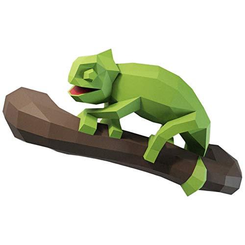 WLL-DP Camaleón Gateando Modelo De Papel 3D Precortado Artesanía De Papel Hecho A Mano Rompecabezas De Origami Juguete De Papel DIY Escultura De Papel Decoración De Pared Geométrica