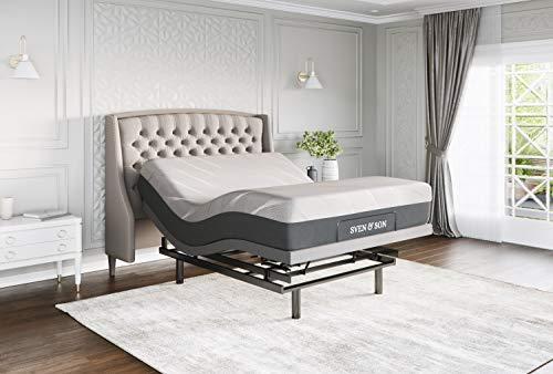 "Sven & Son Queen Adjustable Bed Base Frame Platinum (Individual Head Tilt & Lumbar) + 12"" Cool Gel Memory Foam Mattress and Adjustable Bed (Queen)"