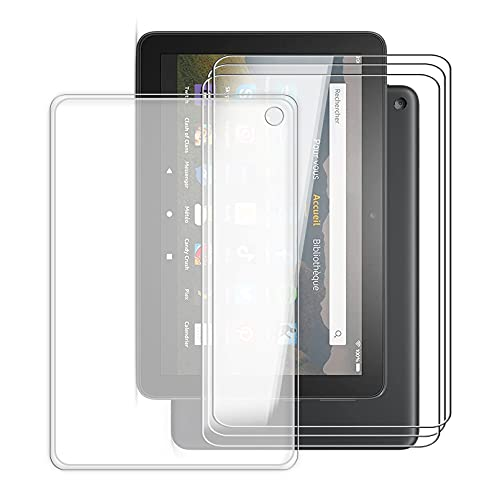 KJYF para Amazon Fire HD 10 Plus 2021 Fundas + 3 Piezas Cristal Templado, Transparente Case Anti-Arañazos Silicona TPU Caso Cover y Vidrio Pantalla para Amazon Fire HD 10 Plus 2021 (10.10') - Clear