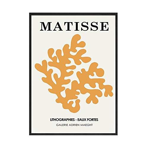Retro abstracto Matisse dibujo lineal pintura minimalista cartel grabado pared arte imagen familia sin marco lienzo pintura A 60x90cm