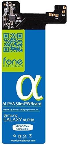 Alpha SlimPWRcard - 0.5mm Módulo receptor para carga inalámbrica Qi para Samsung Galaxy Alpha no Compatible con S-View Cover y compatible con función NFC, se recomienda utilizar con QiStone+ y WoodPuck o Koolpad
