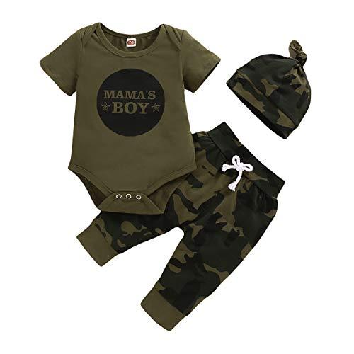 nilikastta 3PCS Newborn Baby Boy Clothes Set,Infant Romper Bodysuit Short Sleeve T-Shirt Printed Shirt Jumpsuit +Camouflage Pants+Hat Outfits(Short Sleeve Baby Boy camo,6-12 Months)