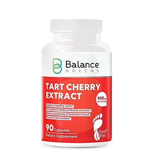 Balance Breens Extracto de cereza Tarta 900 mg Suplemento – 90 cápsulas sin GMO – Apoya los músculos y la salud de las articulaciones, Potente antioxidante ayuda a apoyar el dolor, el dolor muscular y la inflamación