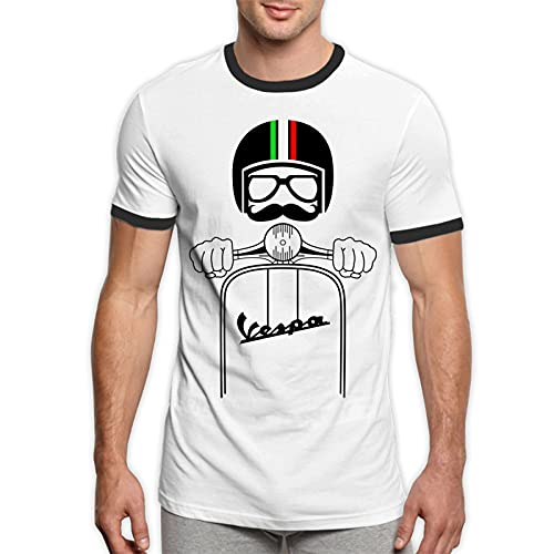 LouisBerry Vespa Piaggio Vivtage, Camiseta Retro para Hombre, Camisetas con Manga de Timbre en Contraste para Hombre, Camisetas para Hombre, Camiseta con Cuello Redondo, pequeña