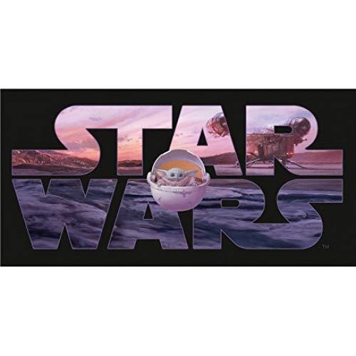 Star Wars - Toalla de baño (algodón 70 x 140 cm), diseño de mando y Grogu ⭐