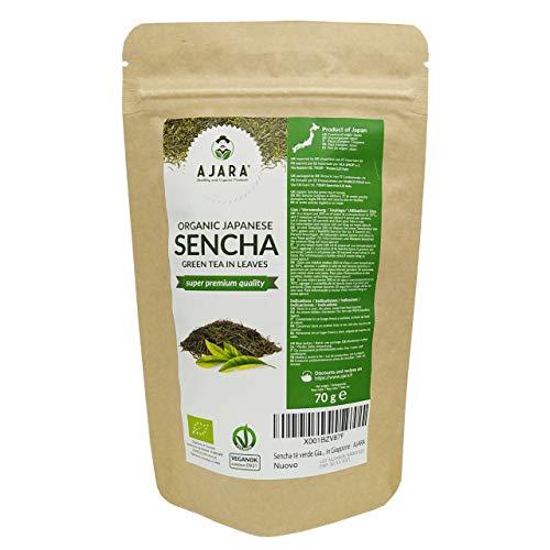 Sencha tè verde Giapponese in foglie Biologico non ossidato, sacchetto da 70 gr -Super Premium Quality- Bio, Vegan e Naturale coltivato in Giappone - AJARA