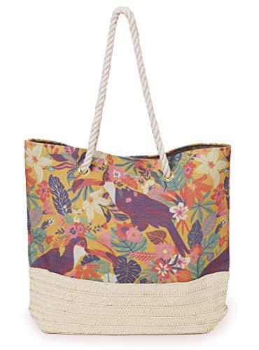 LilyRosa® Bunte Toukanen-Strandtasche für Einkaufs-/Pool-Tag, mit Seilgriffen, Urlaub