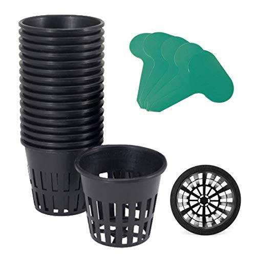 GROWNEER 25-Pack 3-Inch Net Cups Slotted Mesh Wide Lip with 10Pcs Plant Labels Heavy Duty Filter Plant Net Pot Bucket Basket for Hydroponics